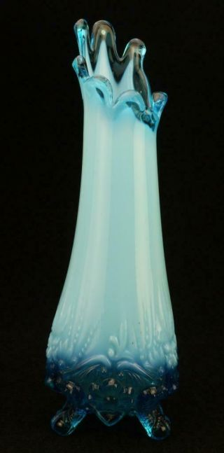Blue Opalescent Piasa Bird Footed Vase Sowerby,  Dugan Or Duncan Miller Usa Kc457
