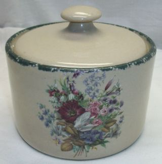 """Home & Garden Party """" Floral Splendor """" Stoneware Small 4 1/4 """" Tall Canister 2000"""