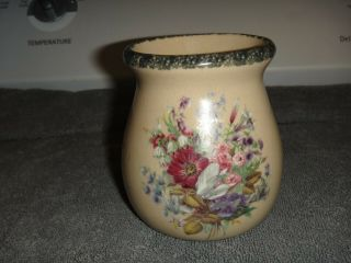 Home & Garden Party 2002 Floral Stoneware Small Candle Burner Crock