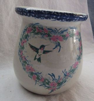 Home And Garden Stoneware Small Jar With Heart And Blue Birds