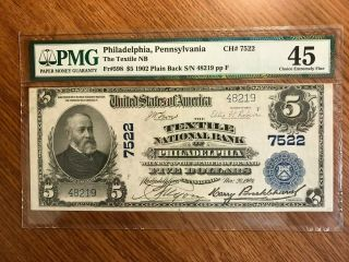 $5 1902 Pb The Textile National Bank Of Philadelphia National Bank Note 7522