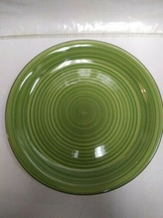 Gibson Green Dinner Plate Hand Crafted Pottery Green Swirl Pattern 10 1/2 ""