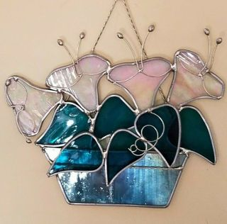 Two Suncatcher Opalescent Stained Glass Flowers