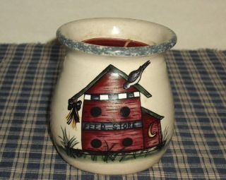 1999 Home & Garden Party Stoneware Bird House Candle Crock With Candle Usa