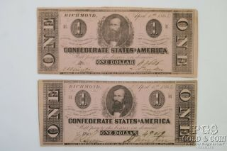 2 1863 $1 Confederate States Richmond Virginia Civil War Currency 2 Notes 20085