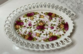 Broken Royal Albert Old Country Roses Platter - Good For Crafts Or Mosaics