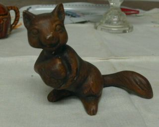Vintage Brown Treasure Craft Squirrel With Nut Figurine