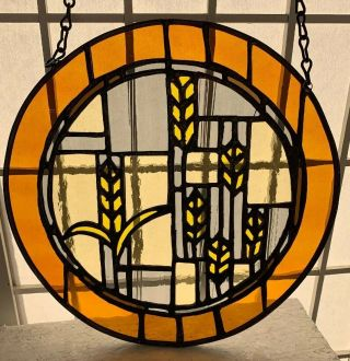 """Vtg Hand Crafted Stained Glass Hanging,  Prairie Style,  Brown Tones,  11"""" Diameter"""