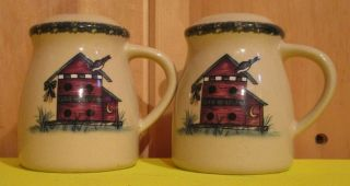 Home & Garden Party Salt & Pepper Shakers Birdhouse Pattern Stoneware