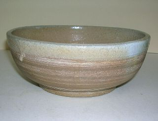 "Hand Crafted Studio Pottery 7 "" Across Tan Bowl W/ Drip Edge Unique Design Vtg"