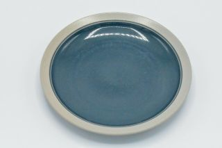 Mikasa Stone Craft Cf435 Blue Center Tan Rim Salad Plate