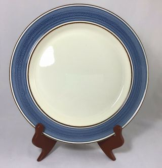 Dinner Plate By Kerry Celtic Crafted In Ireland Ironstone Blue Band Brown Trim