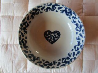 Folk Craft Hearts By Tienshan Blue Ivory Soup Bowl 6.  5 In Cereal Bowl Guc