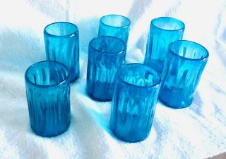 7 Hand - Blown Drinking Glasses Tumblers Water Iced Tea Aqua/turquoise Ribbed