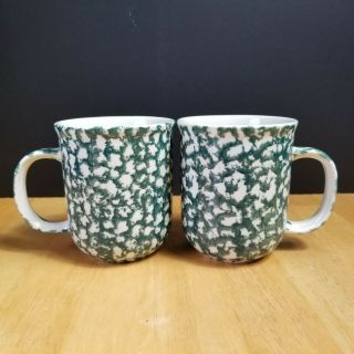 Tienshan Folk Craft Moose Country Mugs Cups Sponge Green And White Set Of 2