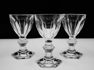"""3 Baccarat Crystal """" Harcourt 1841 """" Sherry Glasses Hand - Crafted In France"""