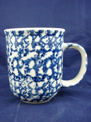 "Tienshan Folk Craft Blue & White Sponge Coffee Mug Cup 3.  75 "" Tall"