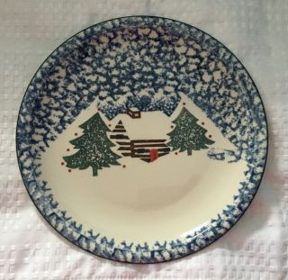 "Tienshan Folk Craft Cabin In The Snow 10 3/8 "" Dinner Plates Blue Sponge Euc"