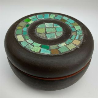 Mystery Maker Studio Hand Crafted Art Pottery W Tile Inlay Round Lidded Bowl 007