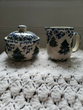 Tienshan Cabin In The Snow,  Creamer & Sugar Bowl Set,  Folk Craft,  Spongeware