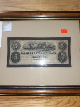 1852 Charleston South Carolina $5 Obsolete Currency Farmers & Exchange Bank