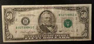 Series 1990 $50 Federal Reserve Note York Circulated