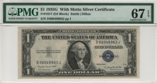 1935 G $1 With Motto Silver Certificate Fr.  1617 Pmg Gem Unc 67 Epq (963j)