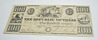 The Republic Of Texas 1839 One Hundred Dollar Bank Note