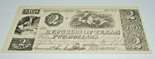 The Republic Of Texas 1841 One Two Dollar Bank Note