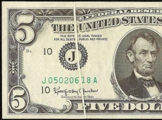 Unc 1963 A $5 Dollar Bill Gutter Fold Printing Error Note Currency Paper Money