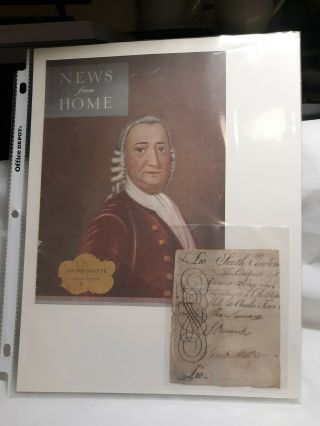 Half Large South Carolina Colonial Note Signed By Jacob Motte.