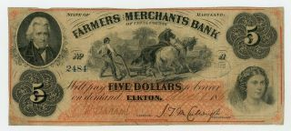 1863 $5 The Farmers And Merchants Bank Of Cecil County - Elkton,  Maryland Note