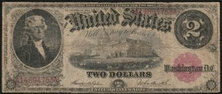 "1917 $2 "" Legal Tender "" Large United States Note S/h After 1st Item"