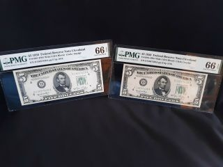 Scarce - Consecutive Pair - Fr 1961 - Dwi Wide - 1950 $5 Cleveland Frn