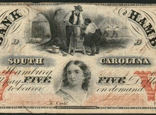 $5 Bank Of Hamburg South Carolina Ca 1860 Obsolete Fine Ghost Town