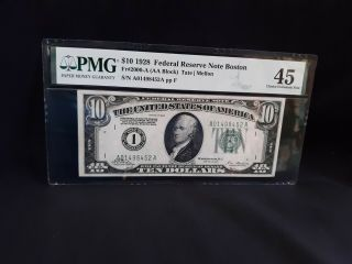 1928 - Fr 2000 - A - $10 Frn Boston - Redeemable In Gold On Demand Pmg 45 5