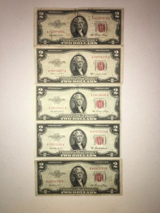 Set Of 5 $2 Red Seal Bills 1953 Fine To About Uncirculated