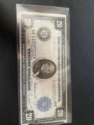 1914 United States Federal Reserve $20 Blue Seal Large Twenty Dollar Note