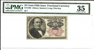 Fr 1308 25 Cents Fractional Currency Fifth Issue Pmg 35