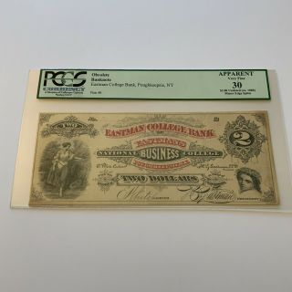 York $2 Obsolete Currency Eastman College Bank,  Poughkeepsie Pcgs 30