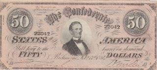 50 Dollars Extra Fine Banknote From Confederate States Of America 1864