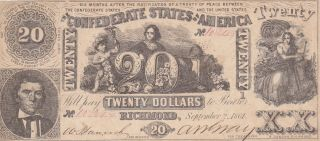 20 Dollars Very Fine Cut Cancel Banknote From Confederate States Of America 1864