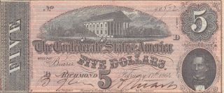 5 Dollars Extra Fine Banknote From Confederate States Of America 1864