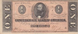 1 Dollar Fine Banknote From Confederate States Of America 1864