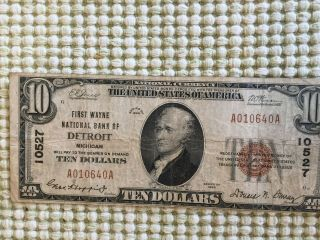 Series 1929 Us $10 Brown Seal Ten Dollar National Currency Note - Detroit