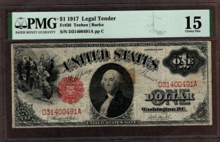1917 $1 Legal Tender Note,  Pmg 15
