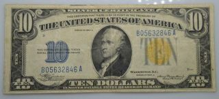 1934 A $10 Silver Certificate North Africa Yellow Seal Ww2 Note - Fine Fr 2309