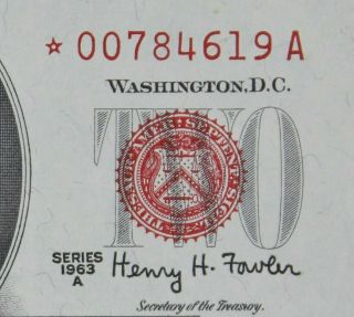 $2 1963a Star Gem Cu Red Seal Us Note 00784619a Series A,  Turned Star Error