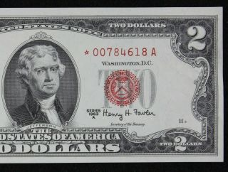 $2 1963a Star Gem Cu Red Seal Us Note 00784618a Series A,  Turned Star Error