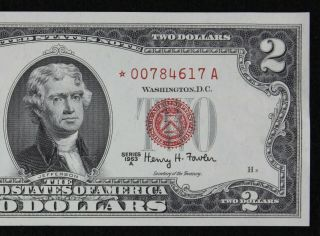 $2 1963a Star Gem Cu Red Seal Us Note 00784617a Series A,  Turned Star Error